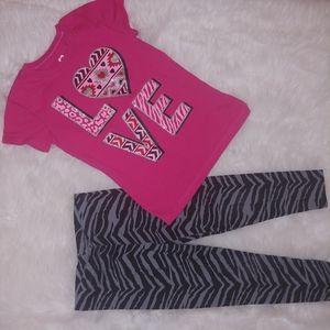 Girls animal print legging and t shirt set 4/5